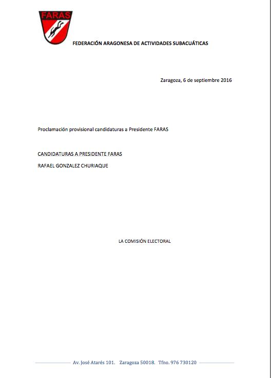 Elecciones FARAS: Proclamación Provisional Candidaturas a Presidencia FARAS 2016