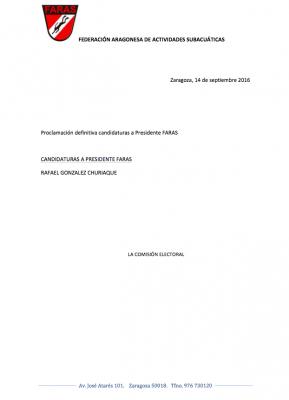 Elecciones FARAS: Proclamación Definitiva Candidaturas a Presidencia FARAS 2016