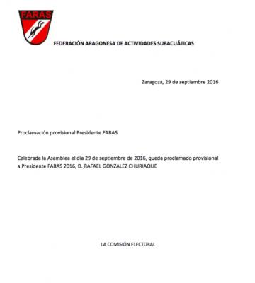 Elecciones FARAS: Proclamación Provisional Presidente de FARAS 2016