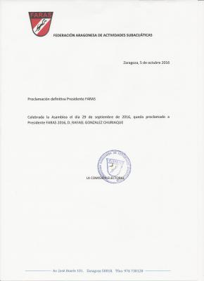 ELECCIONES FARAS: PROCLAMACION DEFINITIVA PRESIDENTE 2016 FARAS